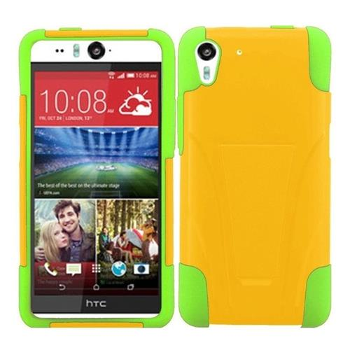 Insten Hard Dual Layer Plastic Silicone Case w/stand For HTC Desire Eye, Yellow/Green
