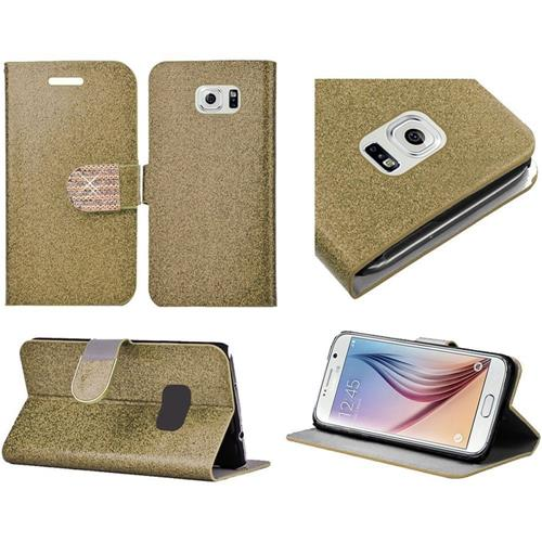 Insten Flip Leather Glitter Case w/stand/card holder/Diamond For Samsung Galaxy S6, Gold