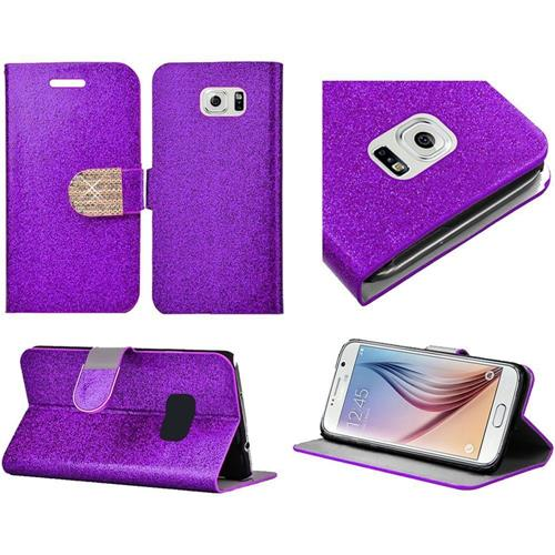 Insten Book-Style Leather Glitter Case w/stand/card slot/Diamond For Samsung Galaxy S6, Purple/Gold