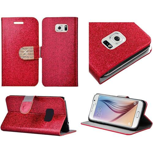 Insten Folio Leather Glitter Case w/stand/card holder/Diamond For Samsung Galaxy S6, Red/Gold