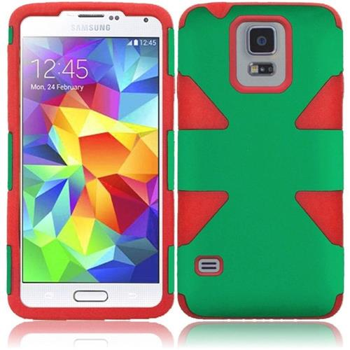 Insten Dynamic Hard Hybrid Rubber Silicone Case For Samsung Galaxy S5, Green/Red