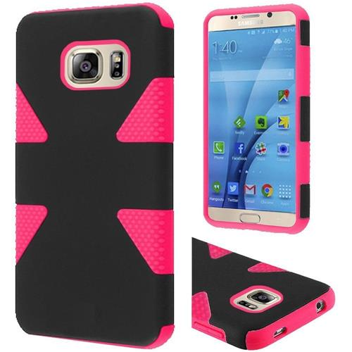Insten Dynamic Hard Hybrid Rubber Coated Silicone Case For Samsung Galaxy S7, Black/Hot Pink