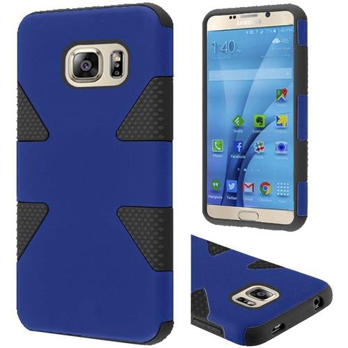 Insten Dynamic Hard Dual Layer Rubberized Silicone Cover Case For Samsung Galaxy S7, Blue/Black