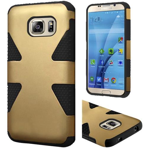 Insten Dynamic Hard Hybrid Rubberized Silicone Case For Samsung Galaxy S7, Gold/Black