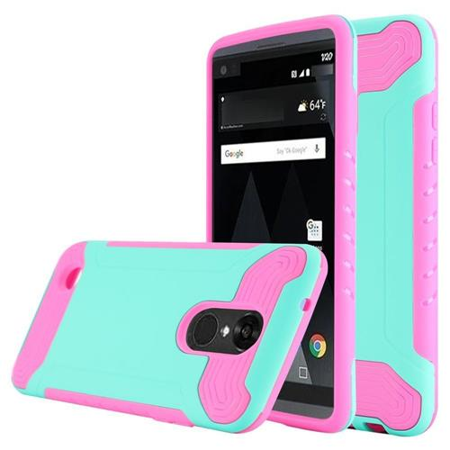 Insten Hard Hybrid TPU Cover Case For LG Aristo/K8 (2017), Teal/Hot Pink