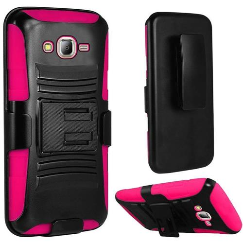 Insten Hard Plastic Silicone Case w/stand/Holster For Samsung Galaxy J7(2015), Black/Hot Pink