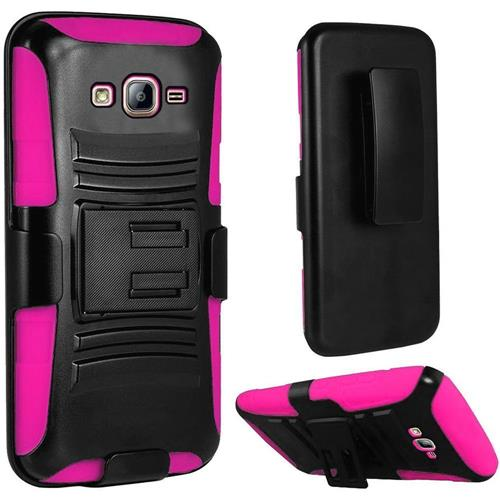 Insten Hard Dual Layer Plastic Silicone Case w/Holster For Samsung Galaxy On5, Black/Hot Pink