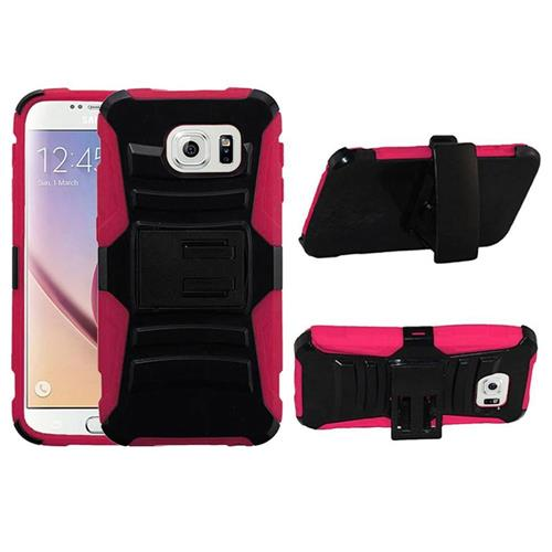 Insten Hard Hybrid Plastic Silicone Cover Case w/Holster For Samsung Galaxy S6, Black/Hot Pink