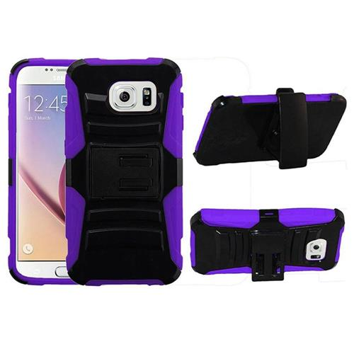 Insten Hard Hybrid Plastic Silicone Cover Case w/Holster For Samsung Galaxy S6, Black/Purple