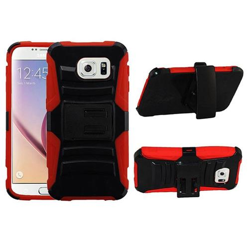 Insten Hard Dual Layer Plastic Silicone Cover Case w/Holster For Samsung Galaxy S6, Black/Red