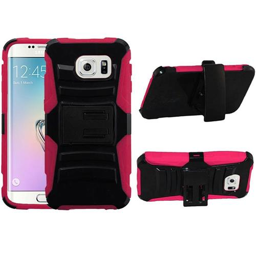 Insten Hard Hybrid Plastic Silicone Case w/Holster For Samsung Galaxy S6 Edge, Black/Hot Pink