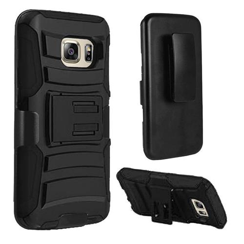 Insten Hard Dual Layer Plastic Silicone Cover Case w/Holster For Samsung Galaxy S7 Edge, Black