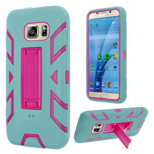 Insten Gel Hybrid Rubber Hard Cover Case w/stand For Samsung Galaxy S7, Teal/Hot Pink