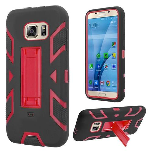 Insten Silicone Dual Layer Rubber Hard Cover Case w/stand For Samsung Galaxy S7, Black/Red