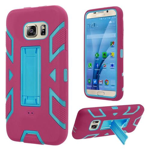 Insten Skin Dual Layer Rubber Hard Cover Case w/stand For Samsung Galaxy S7, Hot Pink/Blue