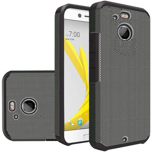 Insten Carbon Fiber Hard Dual Layer Silicone Cover Case For HTC 10/Bolt, Black