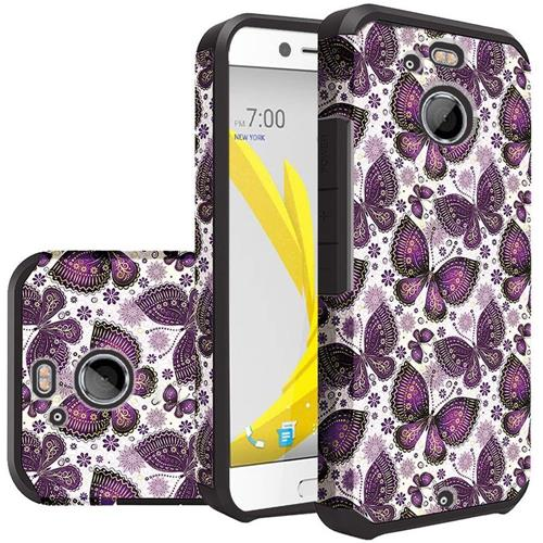 Insten Butterfly Flower Hard Hybrid Rubberized Silicone Cover Case For HTC 10/Bolt, Purple/White