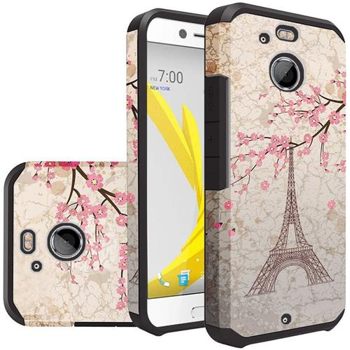 Insten Eiffel Tower Hard Dual Layer Silicone Cover Case For HTC 10/Bolt, Pink/White