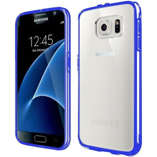 Insten Hard Dual Layer Crystal TPU Cover Case For Samsung Galaxy S7, Clear/Blue