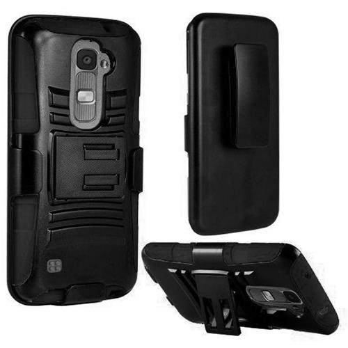 Insten Hard Dual Layer Plastic Silicone Cover Case w/Holster For LG K7, Black