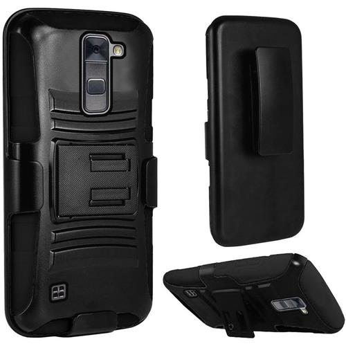 Insten Hard Dual Layer Plastic Silicone Cover Case w/stand/Holster For LG Stylo 2 Plus, Black
