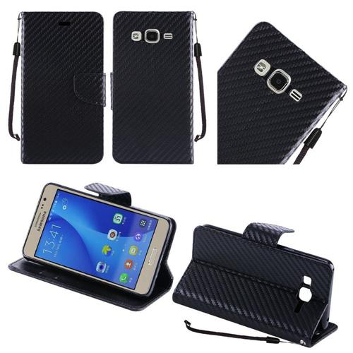 Insten Carbon Fiber Folio Leather Fabric Case Lanyard w/stand For Samsung Galaxy On5, Black