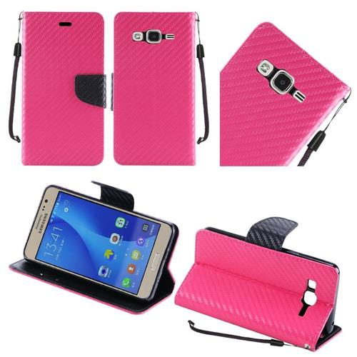 Insten Flip Leather Fabric Case Lanyard w/stand For Samsung Galaxy On5, Hot Pink/Black