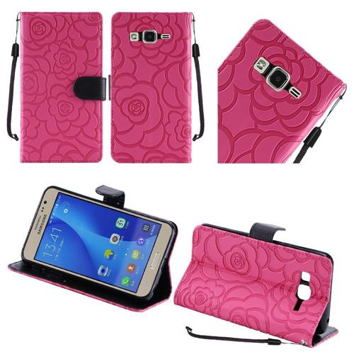 Insten Roses Flip Leather Fabric Cover Case Lanyard w/stand For Samsung Galaxy On5, Hot Pink/Black