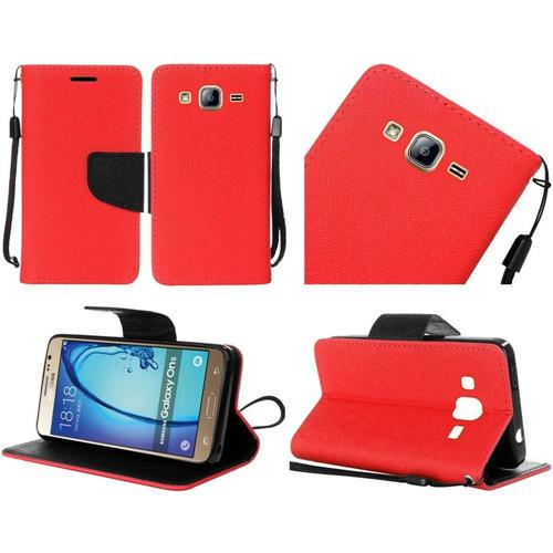 Insten Book-Style Leather Fabric Case Lanyard w/stand For Samsung Galaxy On5, Red/Black