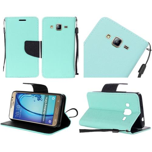 Insten Book-Style Leather Fabric Case Lanyard w/stand For Samsung Galaxy On5, Teal/Black