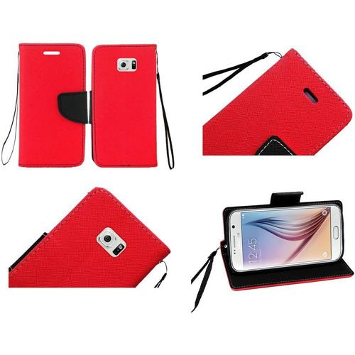 Insten Flip Leather Fabric Case Lanyard w/stand/card slot For Samsung Galaxy S6, Red/Black
