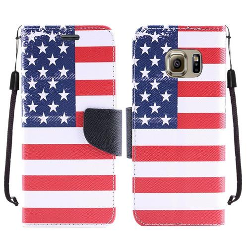 Insten US National Flag Book-Style Leather Fabric Case w/stand For Samsung Galaxy S7, Blue/Red