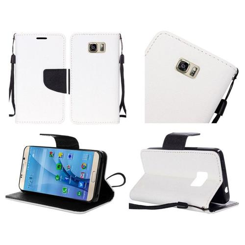 Insten Flip Leather Fabric Cover Case Lanyard w/stand For Samsung Galaxy S7, White/Black