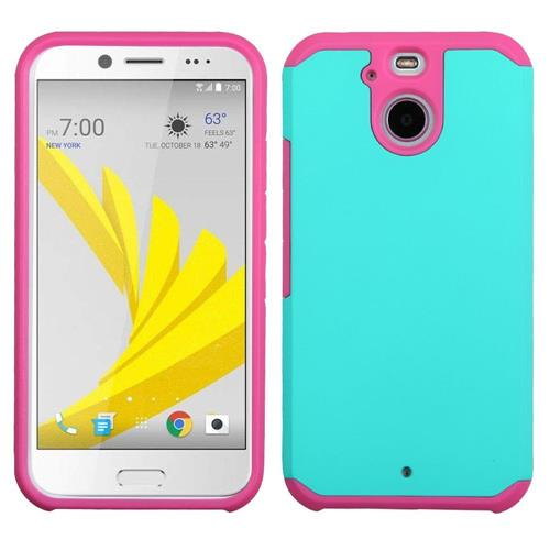 Insten Hard Hybrid Rubber Silicone Case For HTC Bolt, Teal/Pink