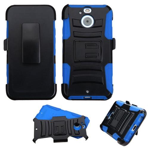 Insten Hard Dual Layer Plastic Silicone Case w/Holster For HTC Bolt, Black/Blue