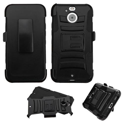 Insten Hard Dual Layer Plastic Silicone Case w/Holster For HTC Bolt, Black