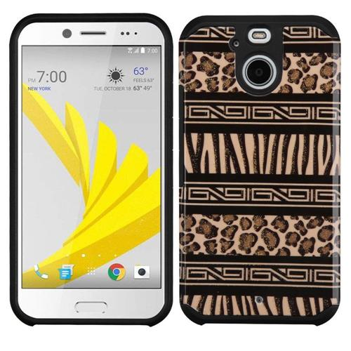 Insten Zebra Hard Dual Layer Rubber Silicone Case For HTC Bolt, Brown/Black