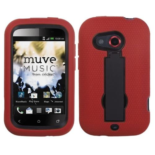 Insten Symbiosis Silicone Hybrid Rubber Hard Case w/stand For HTC Desire C, Red/Black