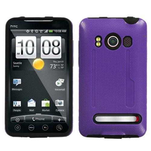 Insten Fusion Hard Hybrid Silicone Case For HTC EVO 4G, Purple/Black
