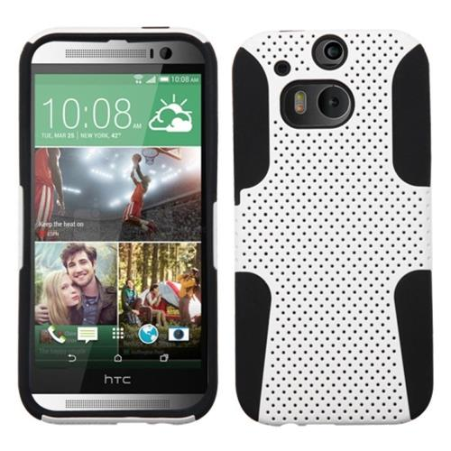 Insten Fitted Soft Shell Case for HTC One 2 / M8 - White/Black