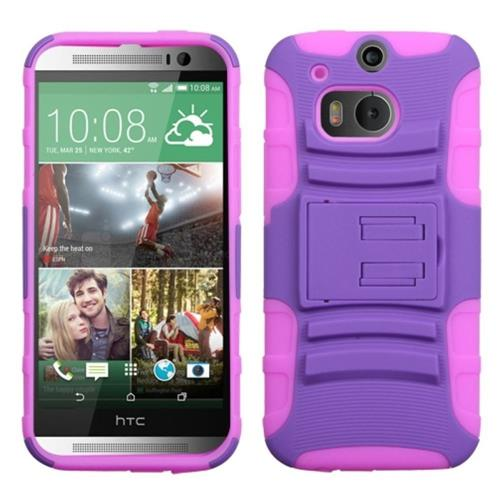 Insten Fitted Soft Shell Case for HTC One 2 - Purple/Hot Pink