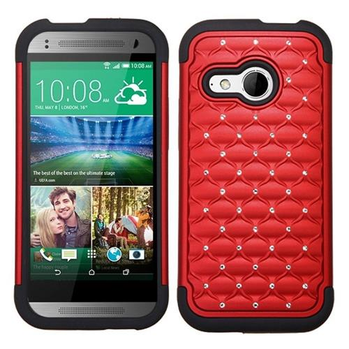 Insten Lattice Hard Hybrid Rubberized Silicone Case For HTC One M8 Mini, Red/Black