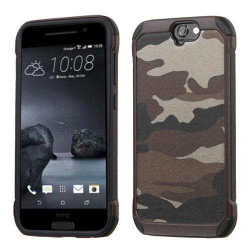 Insten Camouflage Hard Hybrid Rubber Coated Silicone Case For HTC One A9, Gray/Black