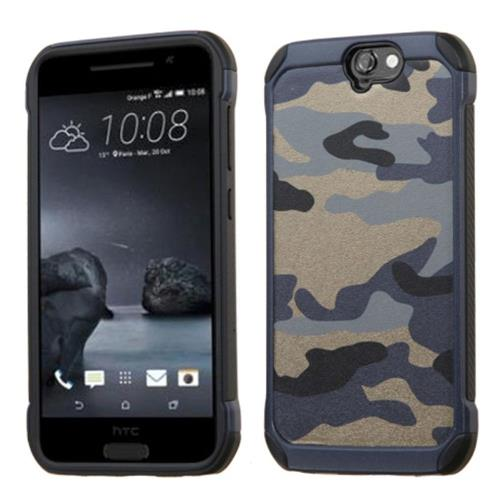 Insten Camouflage Hard Hybrid Silicone Case For HTC One A9, Blue/Black