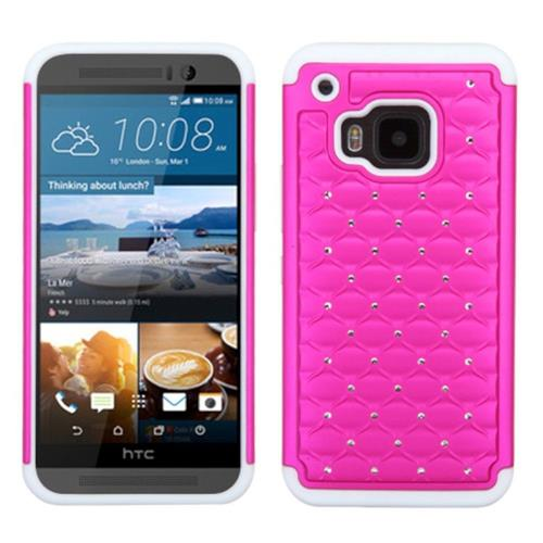 Insten Hard Hybrid Rubber Silicone Cover Case w/Diamond For HTC One M9, Hot Pink/White
