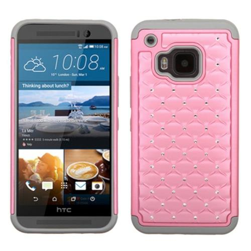Insten Hard Dual Layer Rubber Coated Silicone Cover Case w/Diamond For HTC One M9, Pink/Gray