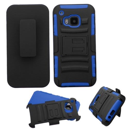 Insten Hard Dual Layer Plastic Silicone Cover Case w/Holster For HTC One M9, Black/Blue