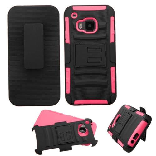 Insten Hard Hybrid Plastic Silicone Cover Case w/Holster For HTC One M9, Black/Pink