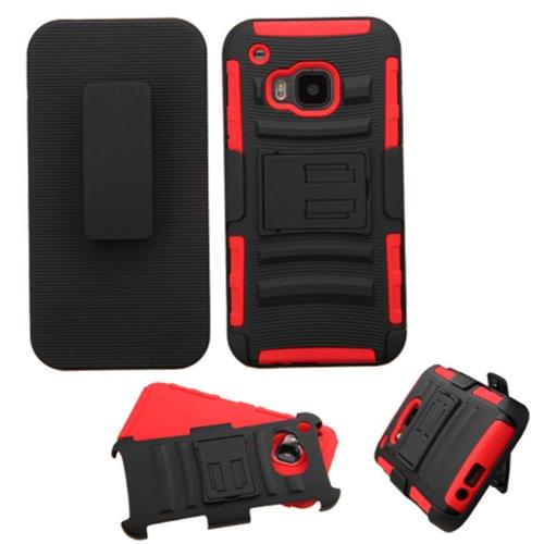 Insten Hard Hybrid Plastic Silicone Cover Case w/Holster For HTC One M9, Black/Red