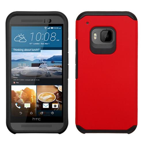 Insten Hard Hybrid Rubber Silicone Cover Case For HTC One M9, Red/Black